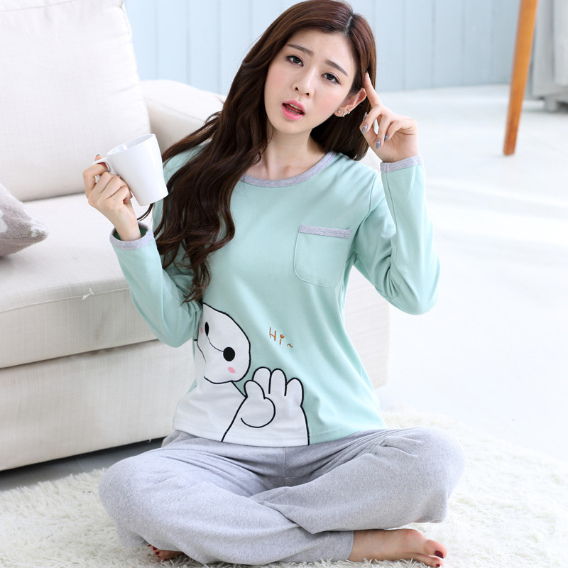 a13fccb0d87d Korean cute cartoon white women s pajamas long-sleeved cotton home service  spring and autumn winter pajamas cotton female suit