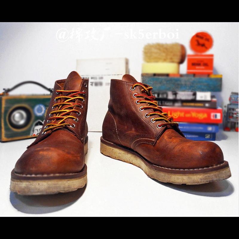 9111手工头层疯马牛皮阿美咔叽日本男女工装靴皮鞋圆头8165马丁靴