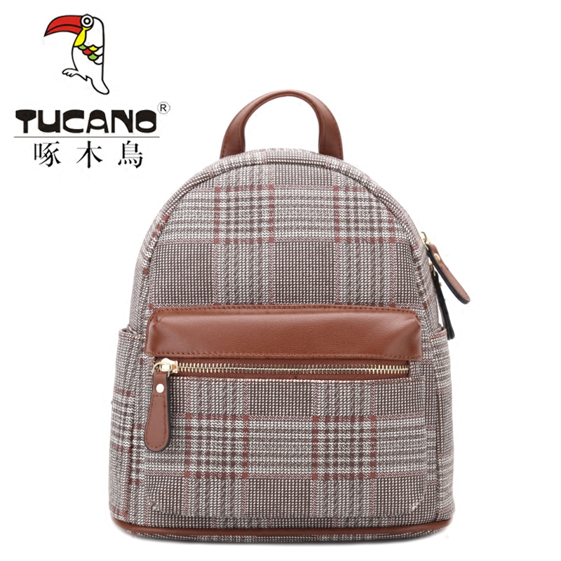 Woodpecker ladies shoulder bag 2018 new fashion personality wheat color  check printing small backpack waterproof bag 0094fceb97