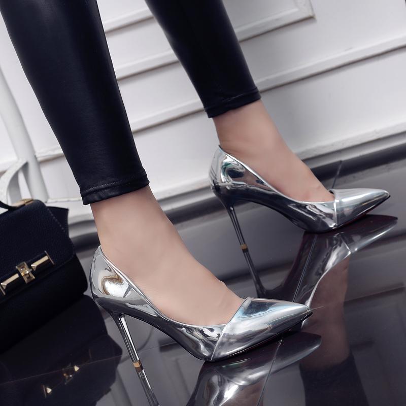 性感银色尖头细跟绸缎高跟鞋夜店欧美百搭单鞋女浅口2017春季新款