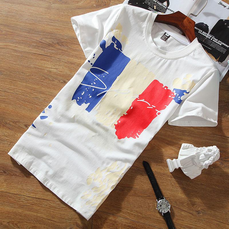 韩版修身男士短袖t恤白色打底衫