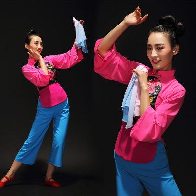 Chinese Folk Dance Costumes Yangko costume classical dance costume performance costume female fan dance Jiuer drama performance Costume Adult