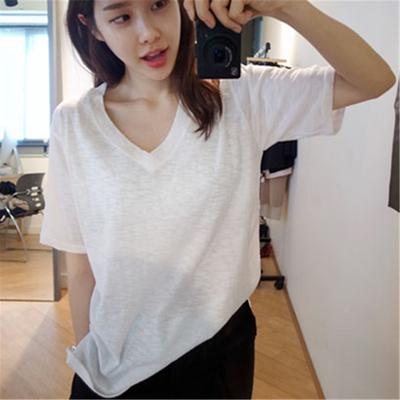 【2件49元】竹节棉短袖女T恤V领简约宽松纯棉白色体恤韩国打底衫