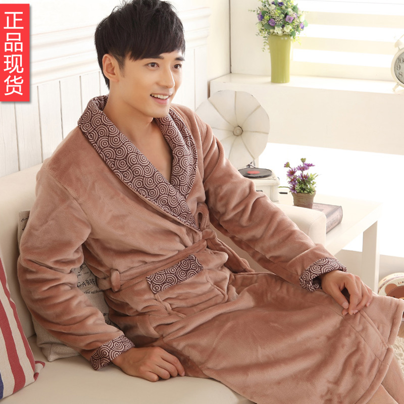 冬款加厚双面绒吸汗透气珊瑚绒长款浴袍/睡袍 系带睡衣/0.68 2914