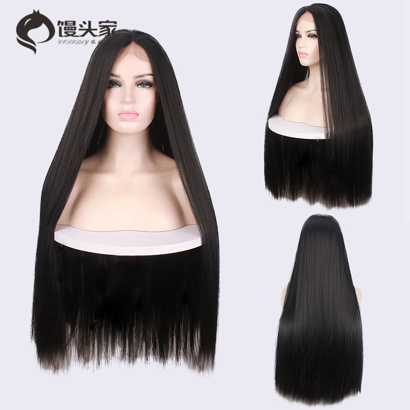 Before the lace in the long straight hair matte realistic black wig  hand-woven artificial bffd9fdf19ce