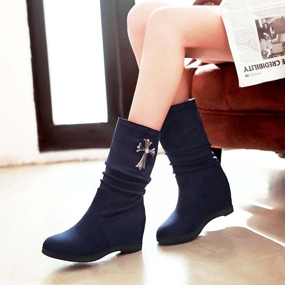 内增高雪地靴女中筒加厚加绒保暖棉坡跟防滑真皮厚底靴子冬季女鞋