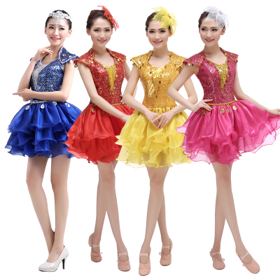 Jazz Dance Costumes Modern Dance Costume sequins Square Dance Costume National Line Dance Costume accompanied by short skirt adult women