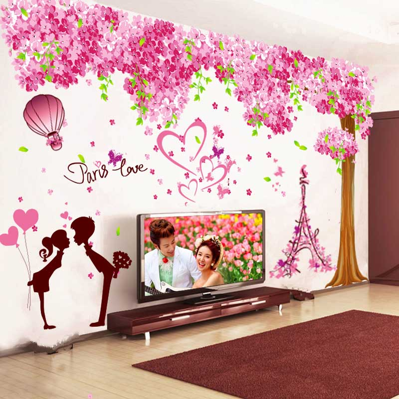 Wall Stickers Living Room Tv Background Decorations Warm Bedroom Al Renovation Self