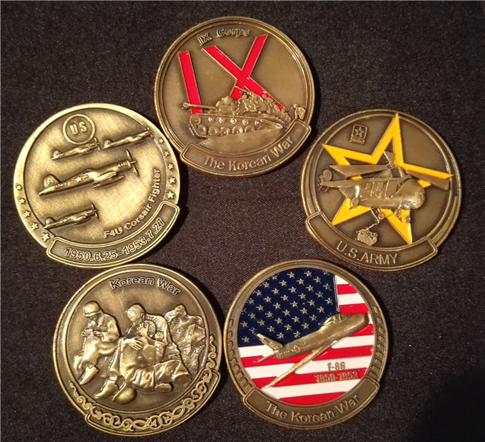 5 full sets of United States Korean War 38 North Latitude 38 degrees  military commemorative coins medals foreign currency coins