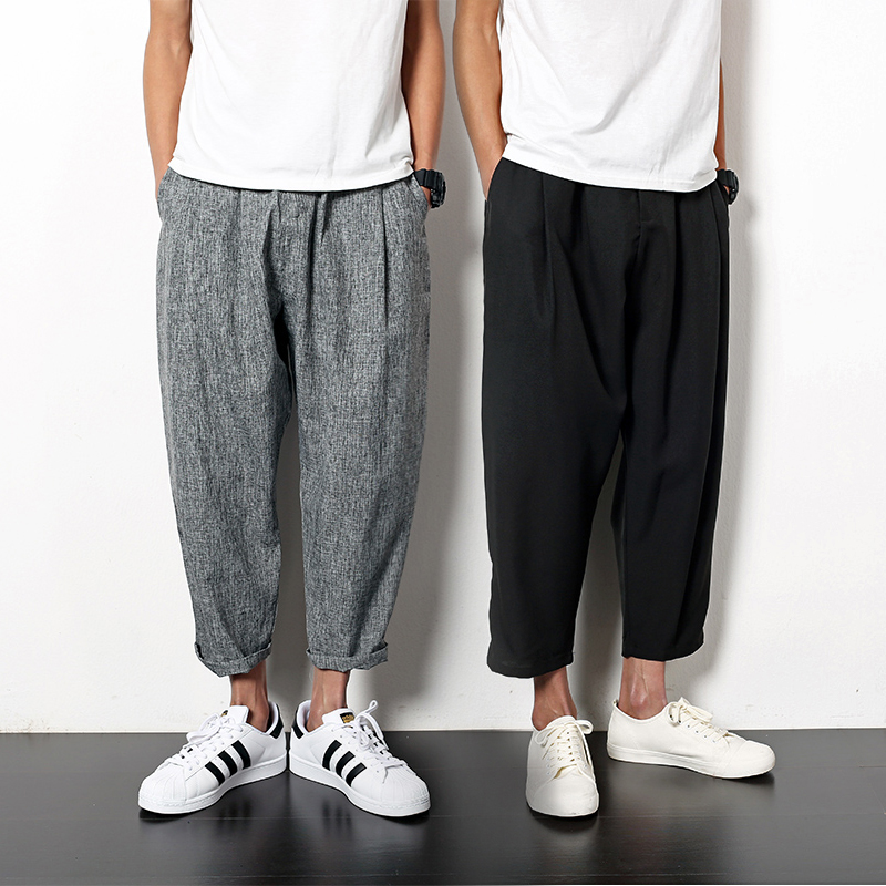 Hồng Kông phong cách Harlan nam quần âu nam Hàn Quốc phiên bản của xu hướng quần chân rộng chín quần men loose Harajuku gió quần