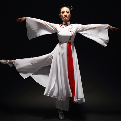 Chinese Folk Dance Costumes Classical Dance Costume Women Modern Chinese Style Dance Costume Practicing Gongfu Performing Costume Adults