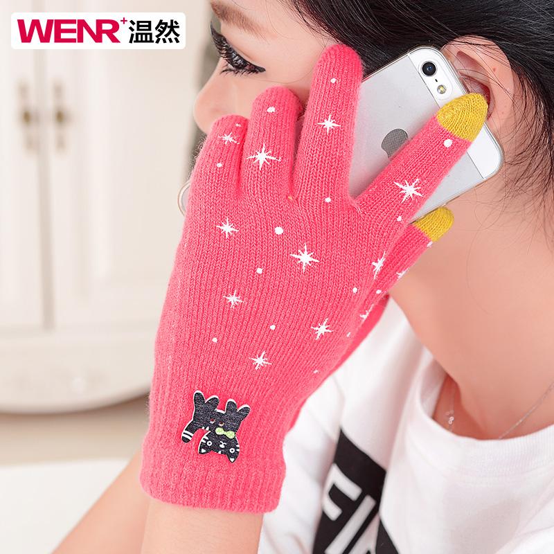 韩版秋冬季毛线手套女双层保暖加绒加厚针织学生骑车分指手套冬天