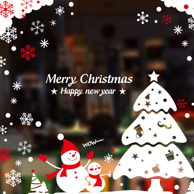 Christmas Wall Sticker Shop Mall Restaurant Glass Window Sticker ...