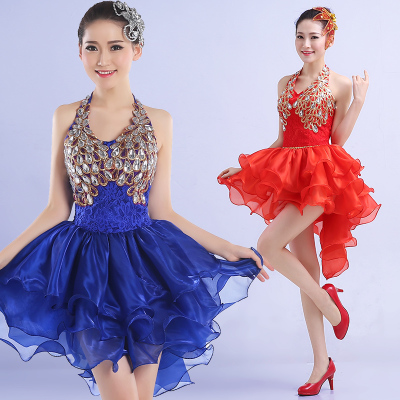 Jazz Dance Costumes Modern dance costume show dress fashion sequins water drum show dress Pengpeng skirt stage dress