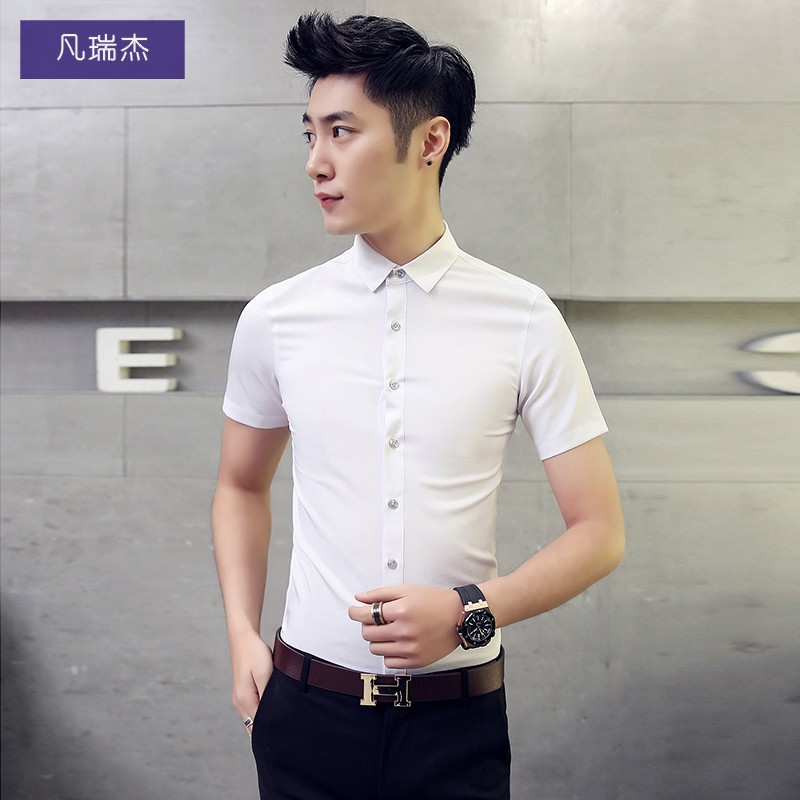ddb96350a444 White shirt men's short-sleeved slim summer men's casual clothes half-sleeved  shirt Korean version of the Trend Network red handsome shirt
