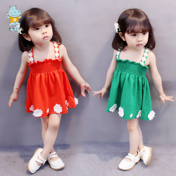儿童吊带裙女露肩宝宝连衣裙夏装女童公主裙潮1-2小裙子夏季3-5岁