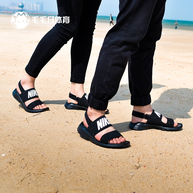 1bdf65c8accbf NIKE TANJUN SANDALS black and white ninja sandals beach slippers female  male couple models 882694- ...