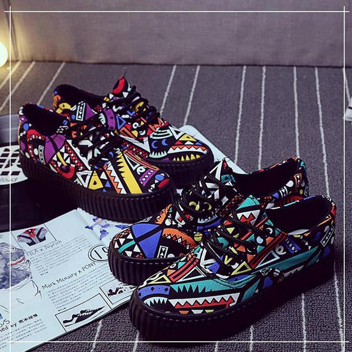 2015美丽豹新款韩版潮鞋涂鸦板鞋厚底布鞋鞋学生帆布休闲鞋女鞋