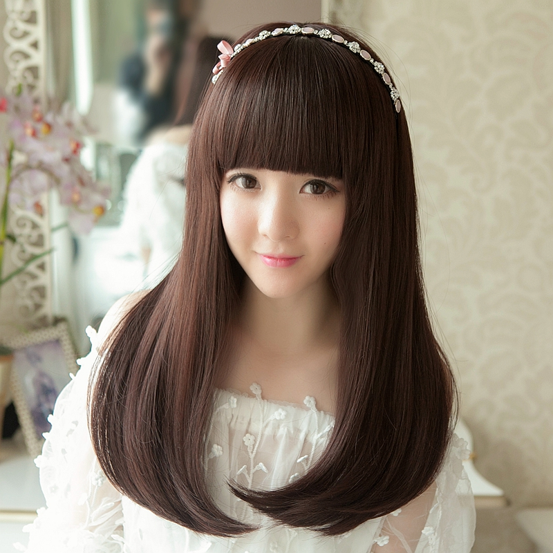 Wig Female Long Pear Flower Head Qi Bangs Buckle Straight Hair