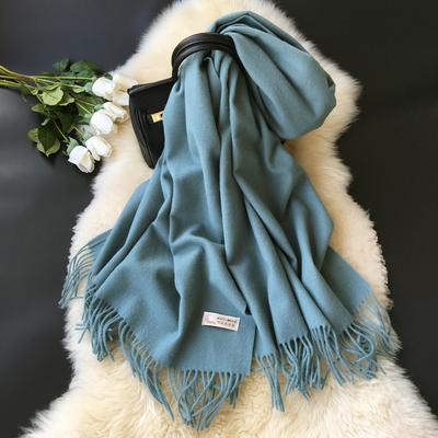 欧美经典高端纯羊毛围巾冬季女羊绒两用超大纯色长款加厚保暖披肩