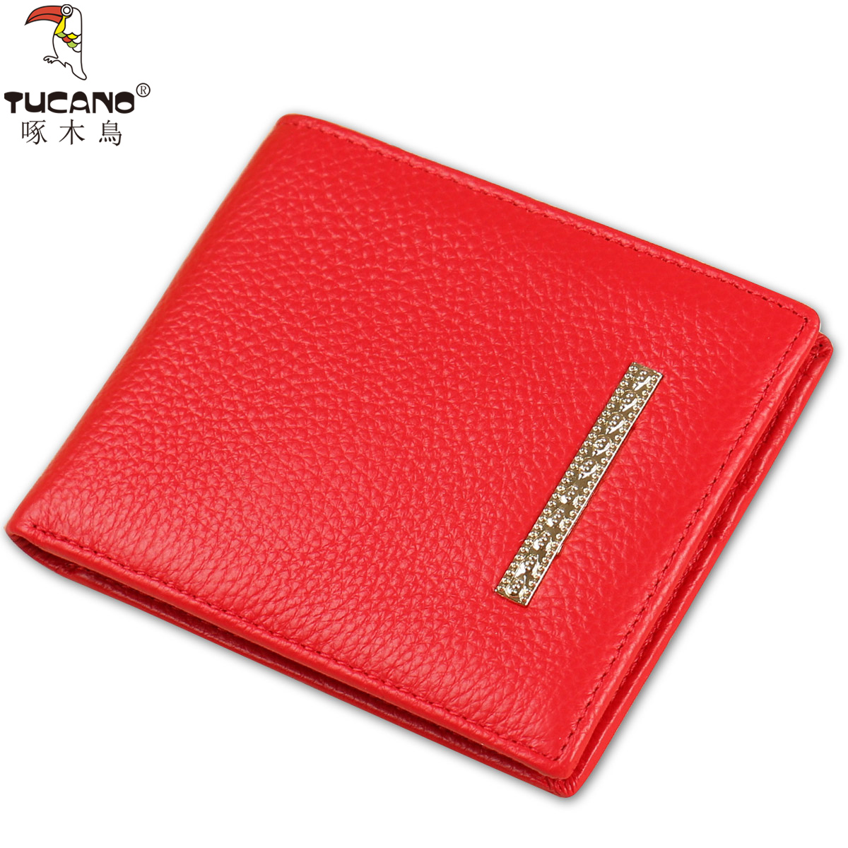 9ebbb19997c1 Woodpecker lady short wallet big red leather two fold small wallet simple  Korean version of the hot section of the year