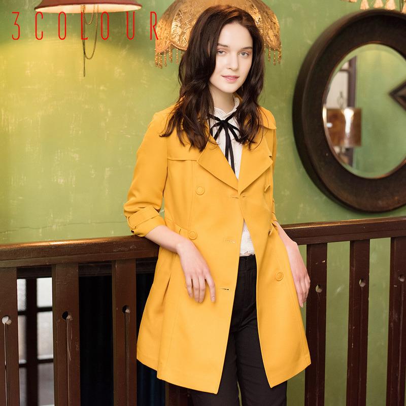 三彩2016秋装新品 绣花拼贴双排扣中长风衣长袖外套女S530341F00