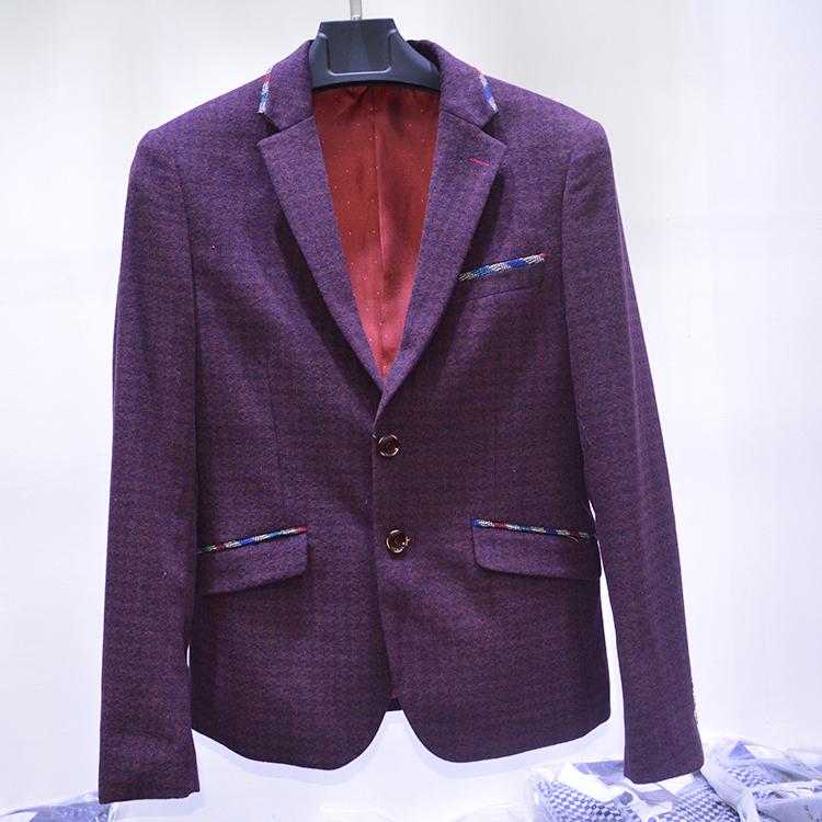 韩国原单 男士商务休闲 修身 60%羊毛 西服西装外套 黑色 大码