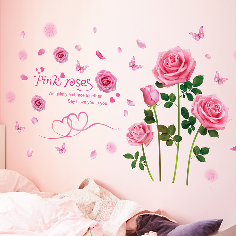 9db9803896e 3D wall stickers bedroom bedroom bedside wall decoration self-adhesive  Wallpaper Wallpaper girl heart wall stickers