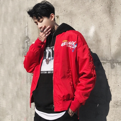 2018 mùa thu người đàn ông mới của áo khoác Hàn Quốc phiên bản của xu hướng hoang dã đẹp trai áo khoác nam sinh viên loose red bóng chày quần áo