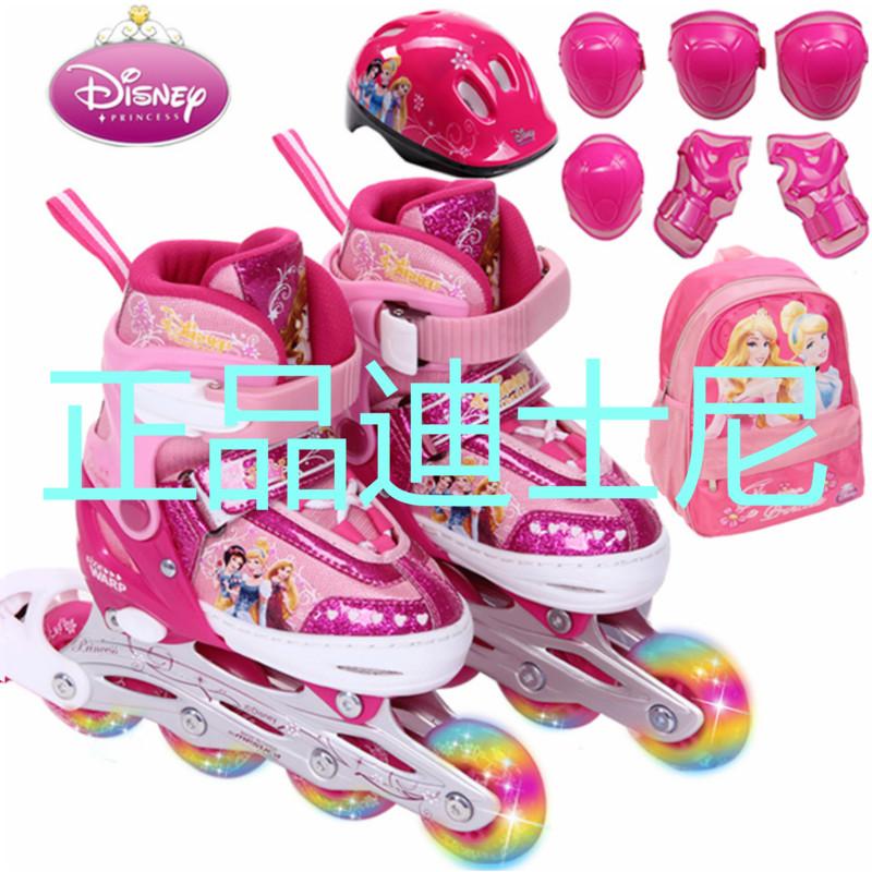 迪士尼溜冰鞋蜘蛛侠儿童轮滑鞋可调闪光旱冰鞋男女正品全套直排轮