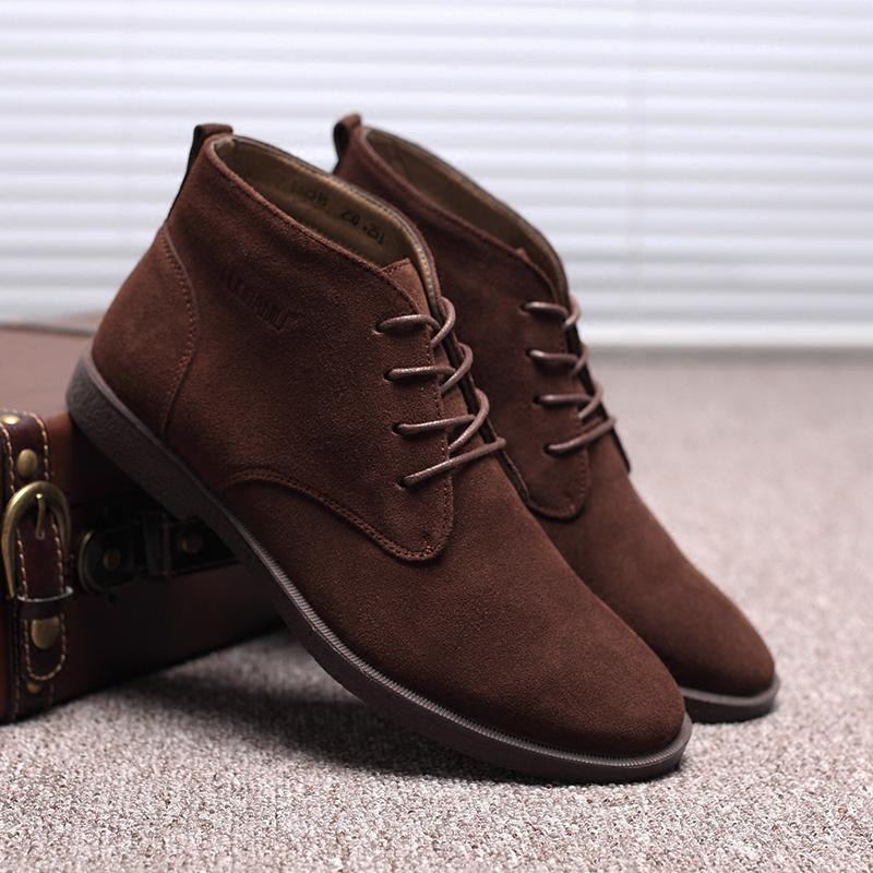 Весна мартин сапоги мужчина волна британская мода дикий замша мужчина ботинки корейский ботинки замша скраб для кожи мужская обувь