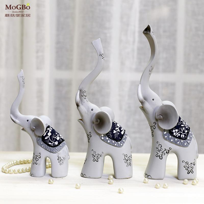 陶瓷大象摆件工艺品 客厅装饰品 动物可爱创意 一家三口新婚送礼