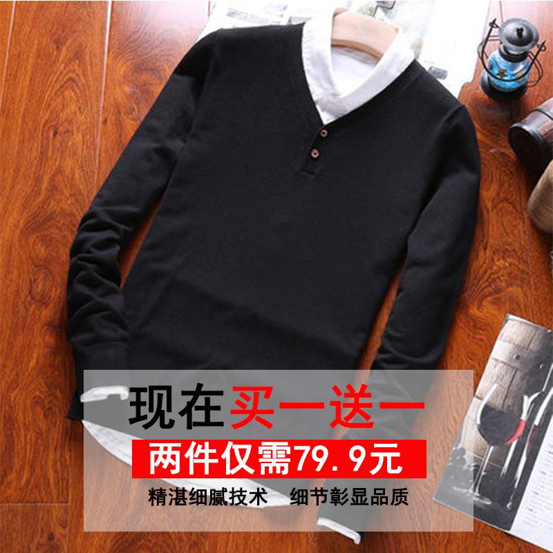 冬季针织衫男套头圆领青年修身男士毛衣韩版潮毛线衣学生薄款外套