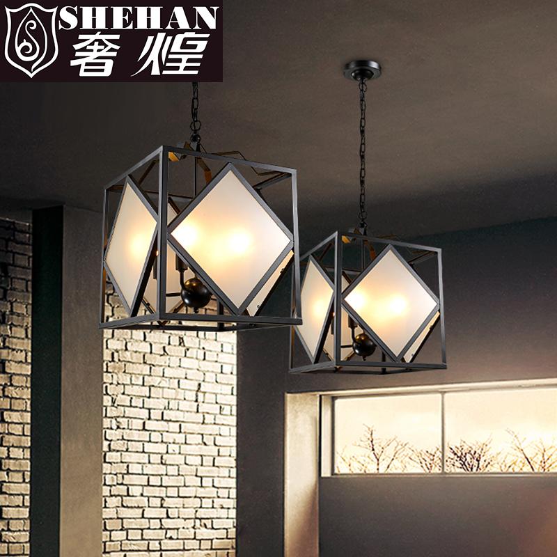 贺曼灯饰 多头菱形玻璃罩吸顶灯 客厅餐厅卧室书房灯 简约时尚