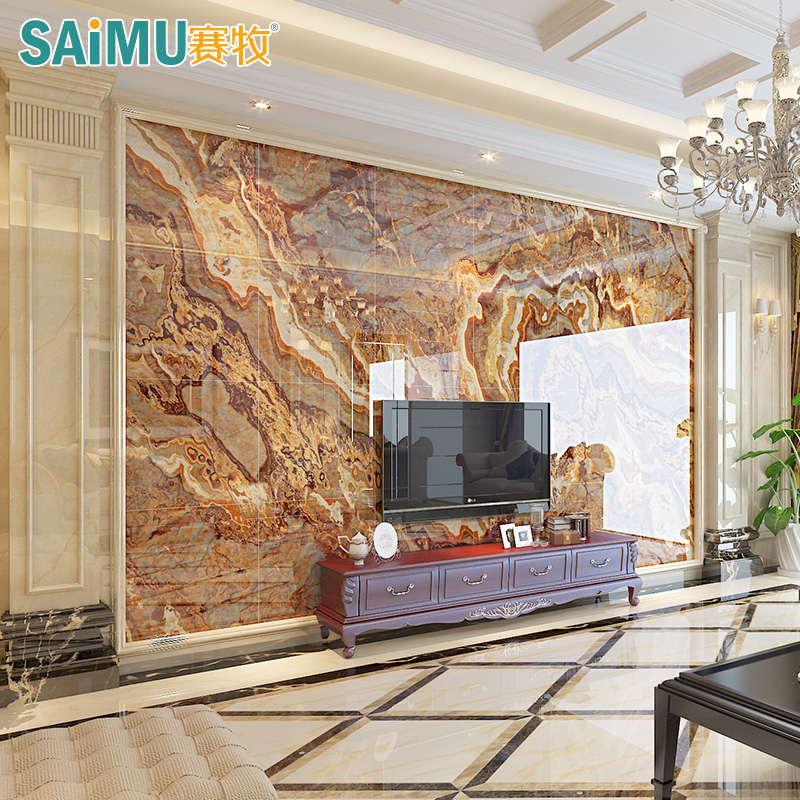 design of atmospheric living room tv background wall   [USD 23.61] Game shepherd Marble TV background wall ...