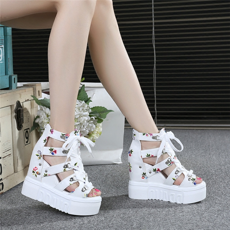 2018 New Summer Muffin bottom Increase Sandals Thick crust Wedges High-heeled 11cm Floral Fish mouth shoes