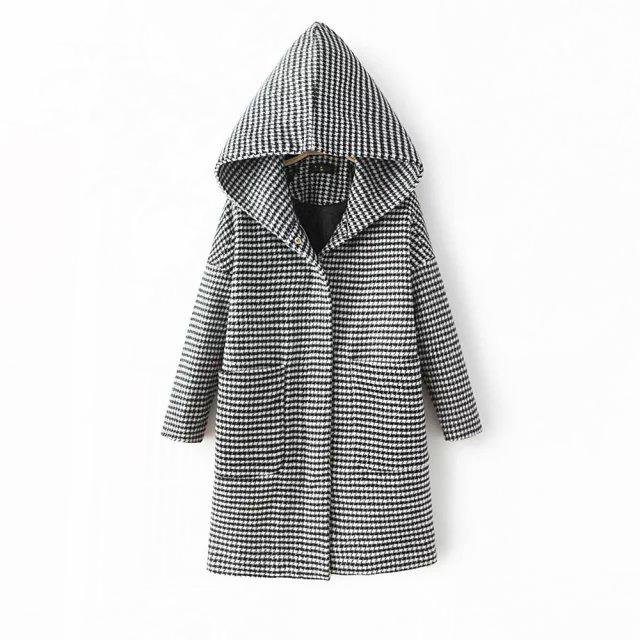 2015冬季新款明星杨幂同款千鸟格连帽宽松毛呢大衣外套