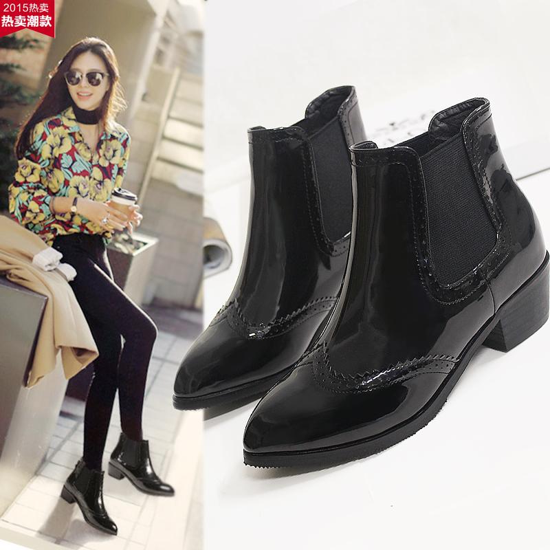 2015秋冬新款欧美高跟靴子女马丁靴及踝靴潮鞋女粗跟尖头真皮短靴