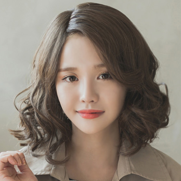 Korean Wig Female Short Hair Fluffy Curly In The