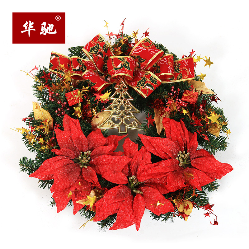 huachi 50cm christmas wreath large bow christmas flower decoration lintel ornaments christmas decorations - Wholesale Large Christmas Decorations