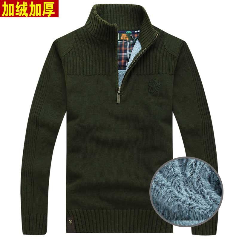 青年加绒加厚男士冬季男式毛衣半高领男款毛衣针织衫套头
