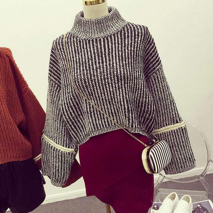 韩版新款粗毛线短款加厚棒针高领混色毛衣女冬长袖针织衫宽松套头