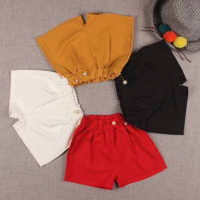 2017 summer girls solid color fashion loose hot pants baby casual children Korean shorts tide children's shorts
