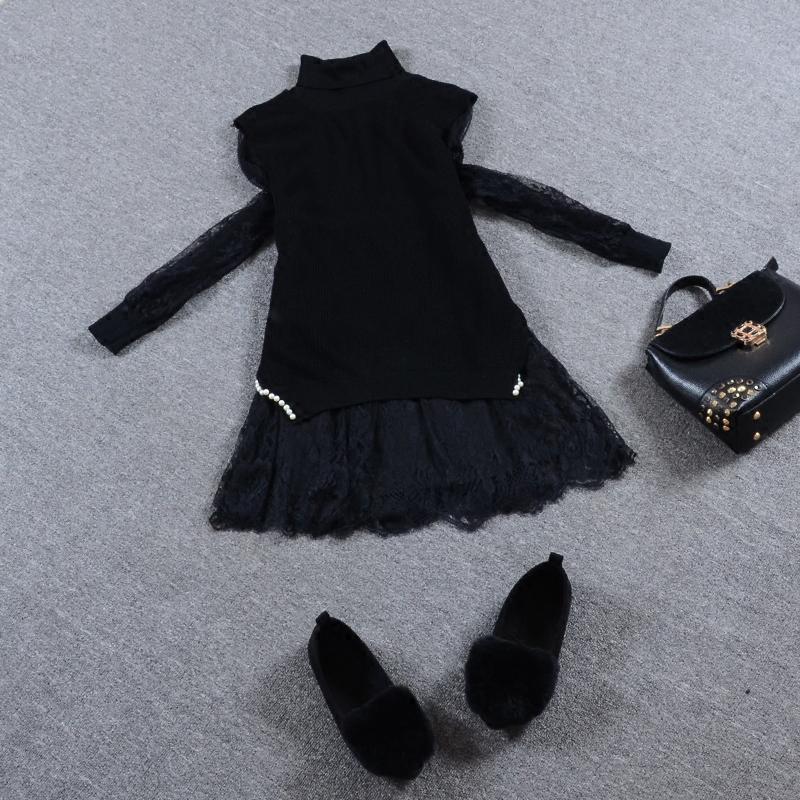 秋冬针织毛衣女长袖中长款两件套蕾丝打底衫时尚套装背心马甲开叉