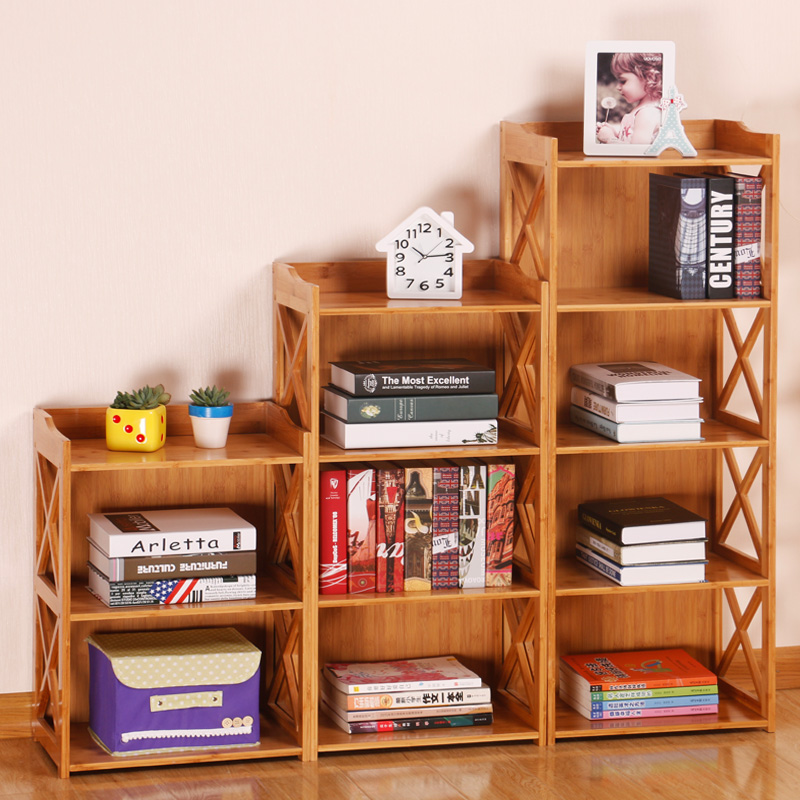 Bookcase Bookshelf Simple Student Solid Wood Table Shelf Combination Modern Minimalist Childrens Small Floor