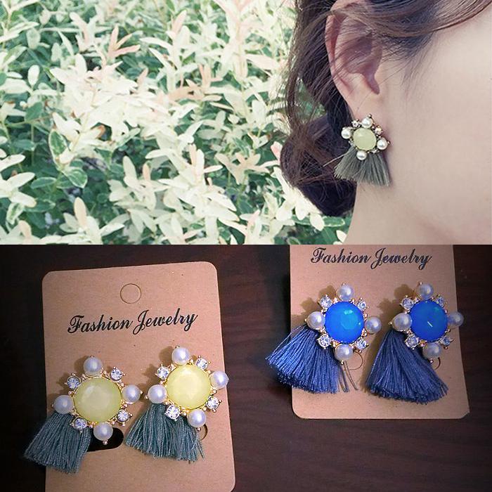 韩国耳钉耳环纯银耳钉防过敏流苏花朵珍珠耳饰耳环长款短款