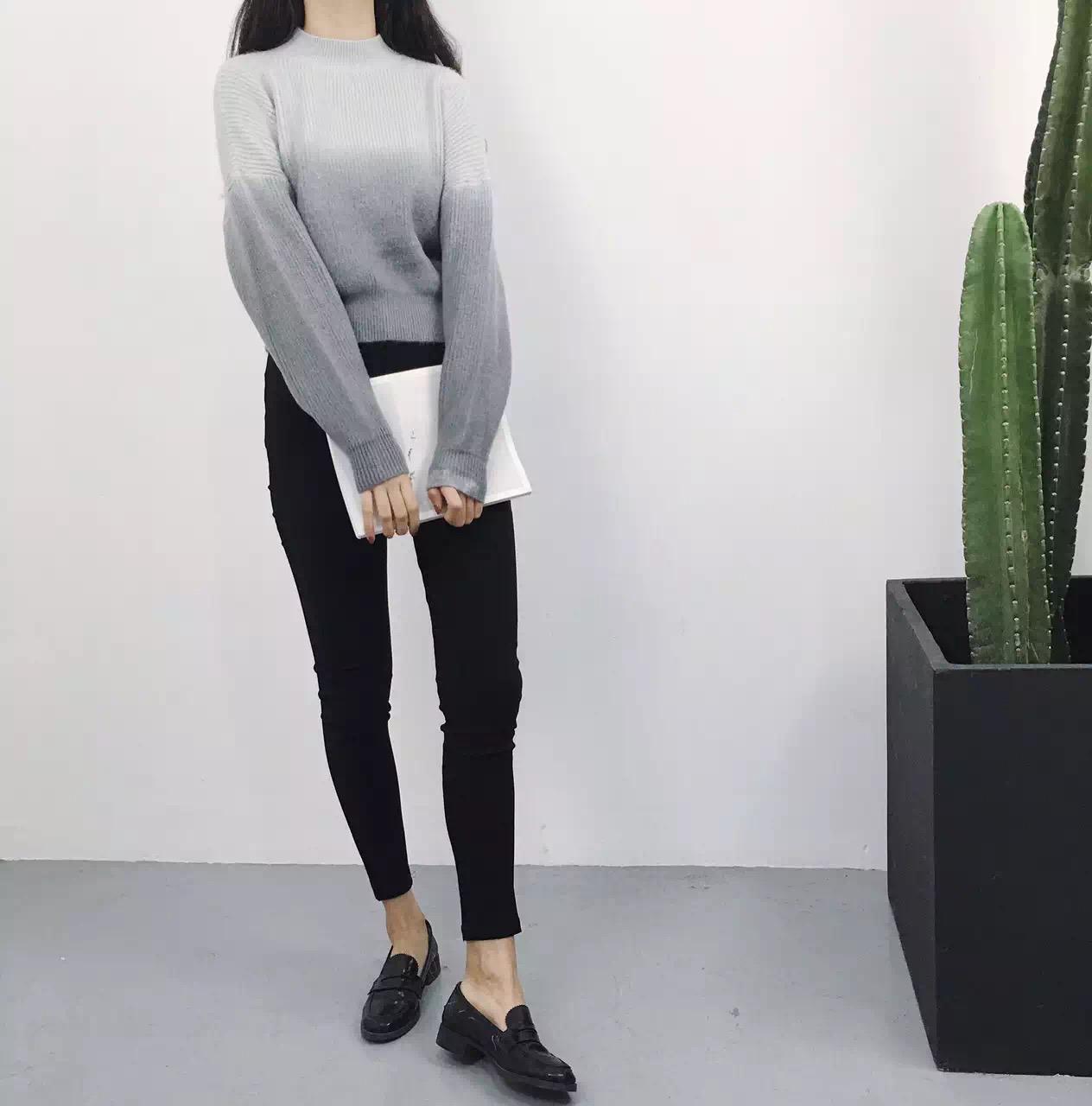 2015新款粗毛线短款加厚毛衣高领混色外套女冬长袖针织衫宽松套头