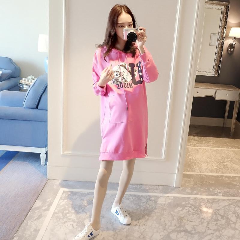 Беременная женщина даже загружен шапка свитер платье корейский длина алфавит куртка свободные большой размеров весна свитер