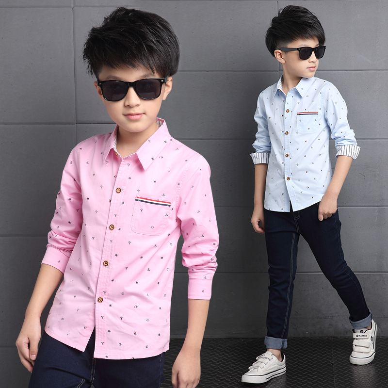 2587aeb2 2018 large children 10 boys fashion long-sleeved shirt 12 boys shirt Korean  children 8 spring and autumn 15-year-old T-shirt 6