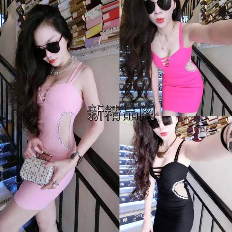 2016夏季韩版新款莫代尔棉女装连衣裙长裙低胸露背吊带宽松大摆裙